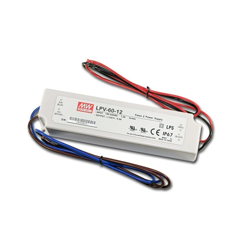 LED VOEDING MEANWELL 12V 60W 5A IP67